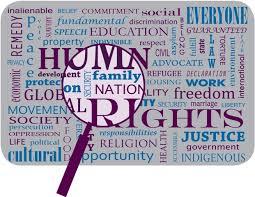 Napis 'human rights' povečan pod lupo.