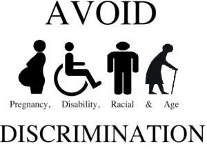 Napis 'Avoid discrimination' in slikice noseče ženske, invalida na vozičku, silhueta osebe in strarejše osebe s palico v roki.