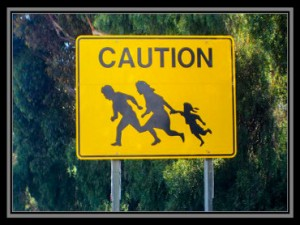 caution family crossing