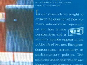 New Book: Women in Parliamentary Politics: Hungarian and Slovene cases compared
