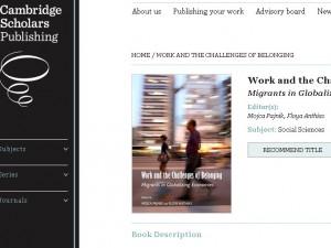 "Book ""Work and the Challenges of Belonging: Migrants in Globalizing Economies"""