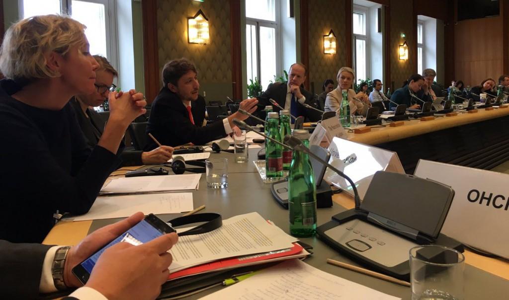 Dr. Iztok Šori at OSCE Human Dimension Committee in Vienna. Photo: Katja Pehrman