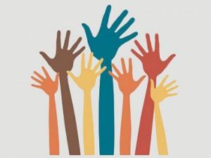 Barvna ilustracija dvignjenih rok