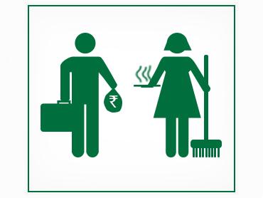 Moška in ženska ikona zelene barve na beli podlagi, moški ima v rokah aktovko, ženksa pa metlo.