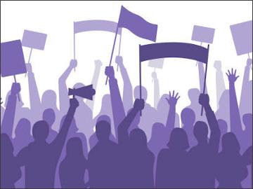 Activists protest. Political riot sign banners, people holding protests placards and manifestation banner. Jobs activist strike, vegetarians meeting or feminist demonstration vector illustration