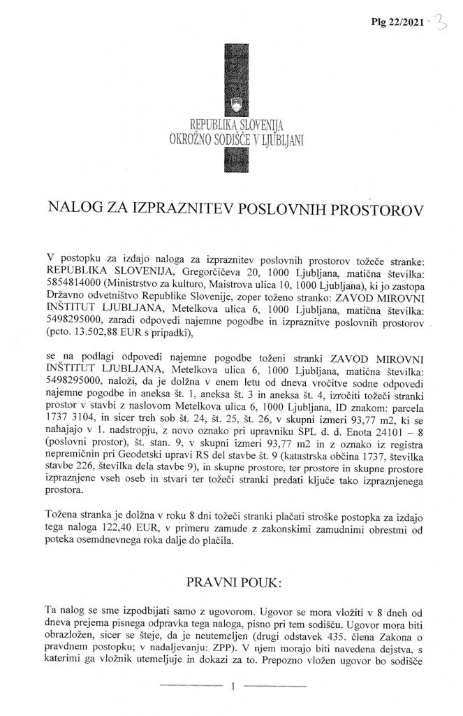 Prva stran zahtevka za izpraznitev prostorov MI, Okrožno sodišče Ljubljana, 2021.